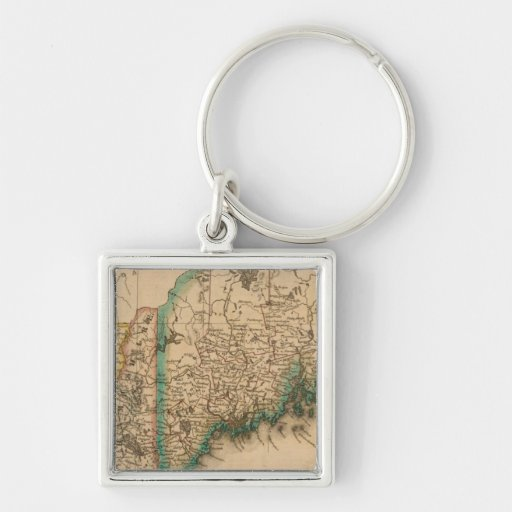 Maine, New Hampshire, Vermont 2 Silver-Colored Square Keychain