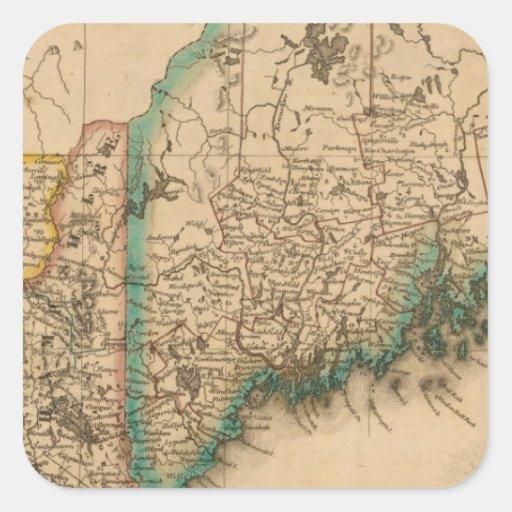 Maine, New Hampshire, Vermont 2 Square Sticker