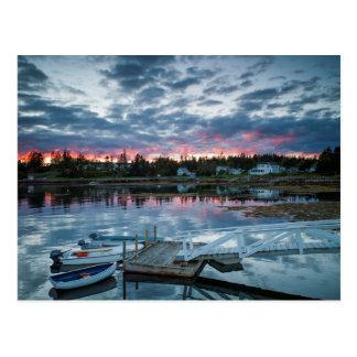 Maine, Newagen, puerto 2 2 de la puesta del sol Postales