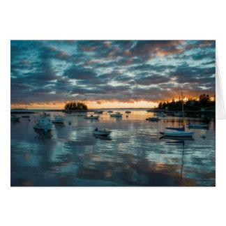 Maine, Newagen, sunset harbor 1 Card