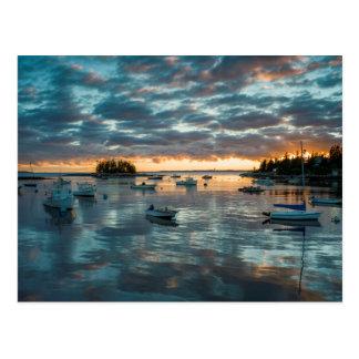 Maine, Newagen, sunset harbor 1 Postcard