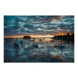 Maine, Newagen, sunset harbor 1 Poster