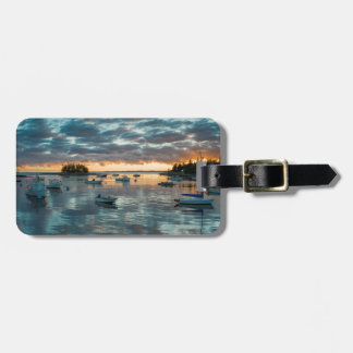 Maine, Newagen, sunset harbor 1 Tag For Luggage