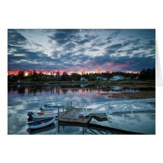 Maine, Newagen, sunset harbor 2 2 Card