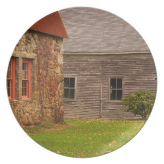 Maine,  Old stone building and wooden barn in Dinner Plate