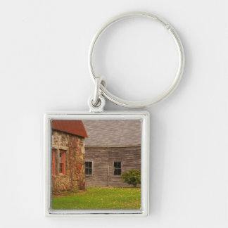 Maine,  Old stone building and wooden barn in Keychain