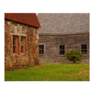 Maine,  Old stone building and wooden barn in Poster