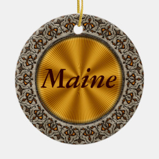 Maine Double-Sided Ceramic Round Christmas Ornament