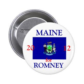 Maine para Romney 2012 Pin Redondo De 2 Pulgadas