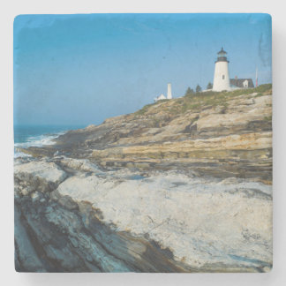 Maine, Pemaquid Point, Pemaquid Point Lighthouse Stone Coaster