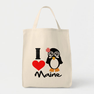 Maine Penguin - I Love Maine Grocery Tote Bag