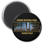 MAINE Picture Font Acadia National Park 2 Inch Round Magnet
