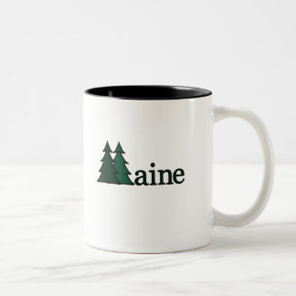 Maine Pine Trees Two-Tone Coffee Mug