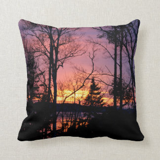 Maine Pink and Orange Sunset Throw Pillow
