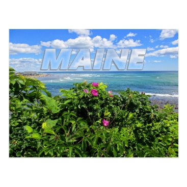 Beach Themed Maine Postcard