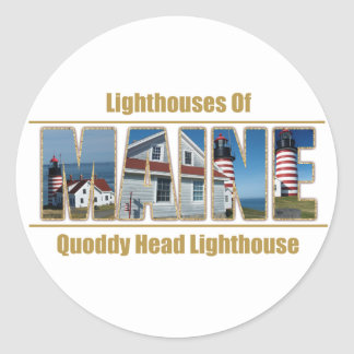 Maine Quoddy Head Lighthouse Image Text Classic Round Sticker