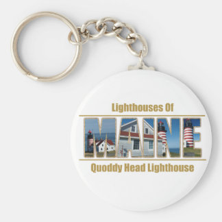 Maine Quoddy Head Lighthouse Image Text Keychain