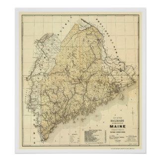 Maine Railroad Map 1899 Poster