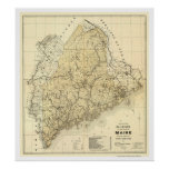 Maine Railroad Map 1899 Print