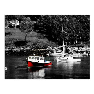 Maine Red And Black Boats Maine Postcard