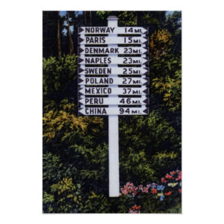 Maine Road Sign Poster