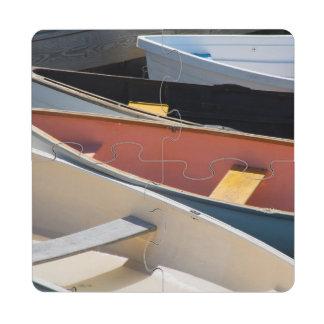 Maine, Rockland. Barcos coloridos en Rockland Posavasos De Puzzle