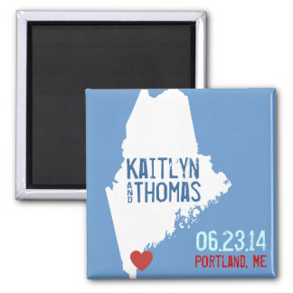 Maine Save the Date - Customizable City 2 Inch Square Magnet