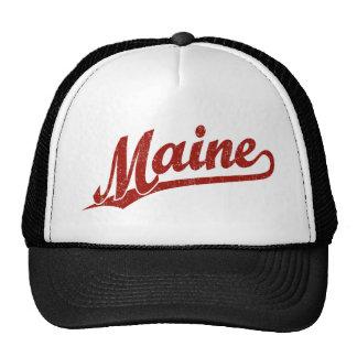Maine script logo in red distressed trucker hat