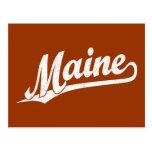 Maine script logo in white distressed postcard