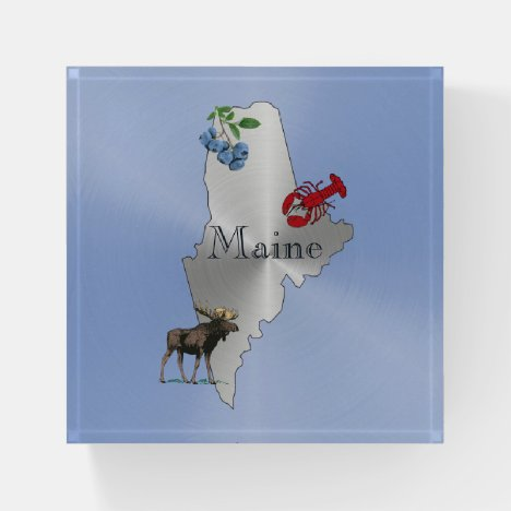 Maine Silver Blueberry Lobster Moose Paperweight