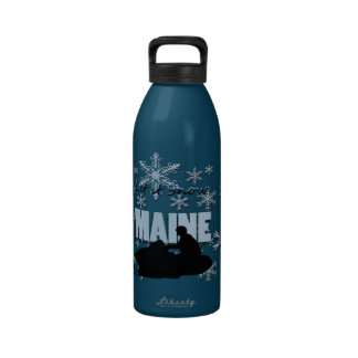 Maine Smowmobile Let it Snow Liberty Water Bottle