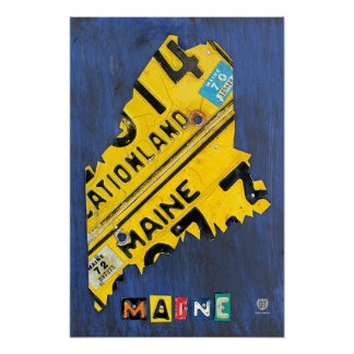 Maine State License Plate Map Poster