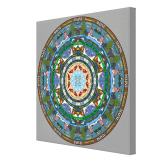 Maine State Mandala Wrapped Canvas Gallery Wrapped Canvas