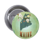 Maine State Map – Green 2 Inch Round Button