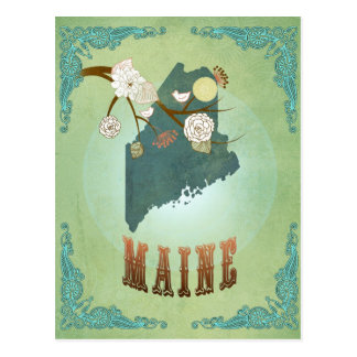 Maine State Map – Green Postcard