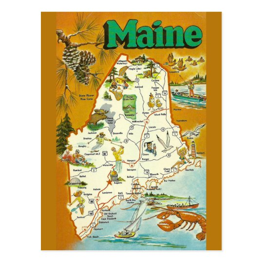 Maine State Map Postcard on colorado state map, maryland state map, maine forest, kentucky state map, idaho state map, maine political map, maine us map, alaska state map, new hampshire state map, maine flower, united state map, vermont state map, maine product map, nevada state map, washington state map, california state map, maine counties map, maine flag, rhode island state map, missouri state map,