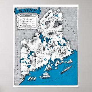 Maine State Map Vintage Beach Decor Print