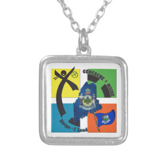 MAINE STATE MOTTO GEOCACHER SILVER PLATED NECKLACE