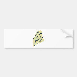 Maine State Name Word Art Yellow Bumper Sticker