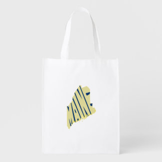 Maine State Name Word Art Yellow Grocery Bag