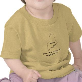 Maine state of happiness teeshirt map tee shirts