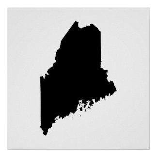 Maine state outline poster
