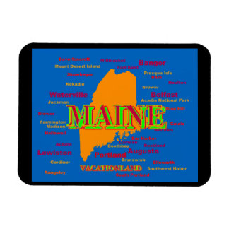Maine State Pride Map Silhouette Magnet