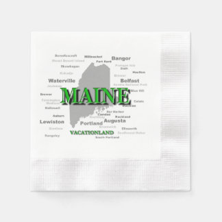Maine State Pride Map Silhouette Paper Napkins