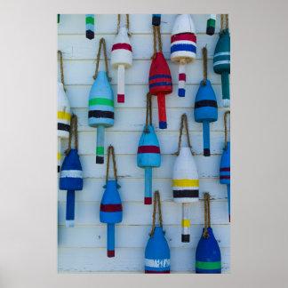 Maine, Stonington, decorative lobster buoys Poster