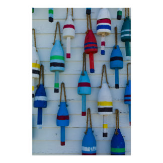 Maine, Stonington, decorative lobster buoys Poster