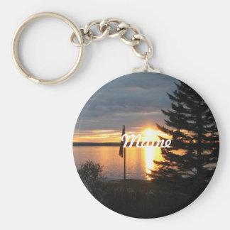 Maine Sunset Basic Round Button Keychain