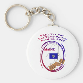 Maine Tax Day Tea Party Protest Key Ring Keychain