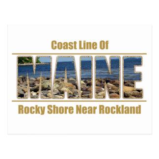MAINE Text Image - Coast Line Rockland Postcard