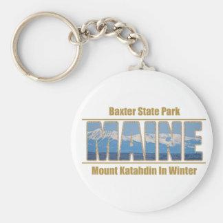 MAINE Text Image - Mount Katahdin Basic Round Button Keychain